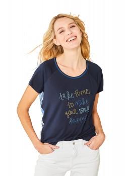 Hochwertiges Blusenshirt Rundhals Halbarm