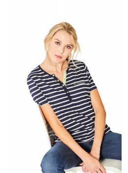Feminines Shirt Y-Ausschnitt Halbarm