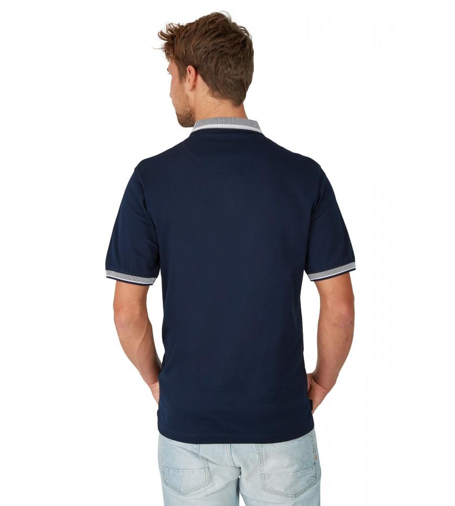 Pikee-Poloshirt mit aufwändig gestricktem Kragen 26696-609 back