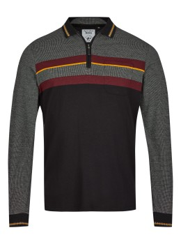 Poloshirt in Materialmix