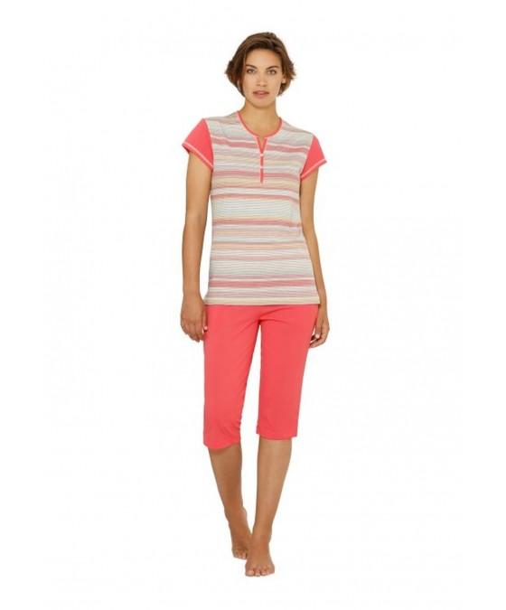 Capri-Schlafanzug in Ringeloptik 45009-327 front